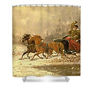 Returning Home In Winter Shower Curtain by Charles Ferdinand De La Roche