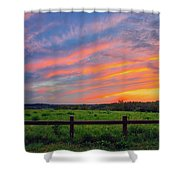 Retzer Nature Center - Summer Sunset Over Field And Fence Shower Curtain