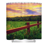 Retzer Nature Center - Sunset Over Field Shower Curtain