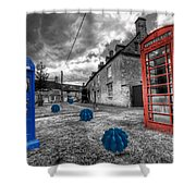 Revenge Of The Killer Phone Box  Shower Curtain by Rob Hawkins