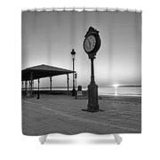 Revere Beach Clock At Sunrise Revere Ma Black And White Shower Curtain