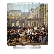 Revolution Of 1830 Departure Of King Louis-philippe For The Paris Townhall Horace Vernet Shower Curtain