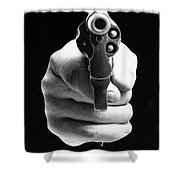 Revolver Aimed At You Shower Curtain