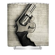 Revolver Pistol Gun Over Drawings Shower Curtain