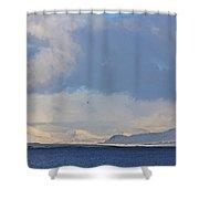 Reykjavik Bay, Blue Sea, Clouds , Shadows, Mountains,  Iceland 2 2102018 2262 Shower Curtain
