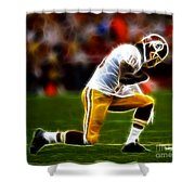 Rg3 - Tebowing Shower Curtain by Paul Ward