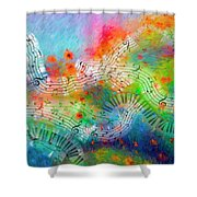 Rhapsody In Blue, And Red, And Green Shower Curtain