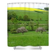 Rhineland-palatinate Summer Meadow With Cherry Trees Shower Curtain