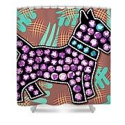 Rhinestone Dog Shower Curtain