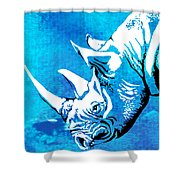 Rhino Animal Decorative Blue Poster 1 - By  Diana Van Shower Curtain