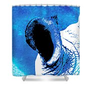 Rhino Animal Decorative Blue Poster 3 - By Diana Van Shower Curtain
