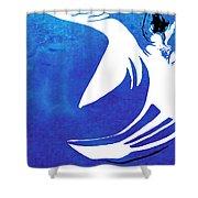 Rhino Animal Decorative Blue Poster 4 - By Diana Van Shower Curtain