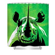Rhino Animal Decorative Green Poster 5 - By Diana Van Shower Curtain