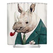 Rhino In Teal Shower Curtain