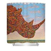 Rhino-shape Shower Curtain by James W Johnson