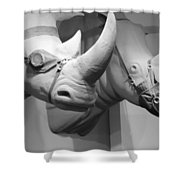 Rhinos In Black And White Shower Curtain
