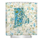 Rhode Island State Map Geometric Abstract Pattern Shower Curtain