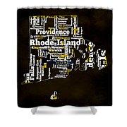 Rhode Island Typographic Map Shower Curtain