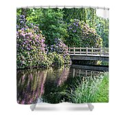 Rhododendrons And Wooden Bridge In Park Shower Curtain