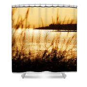 Rhos Point Viewed Through Beach Grass Shower Curtain