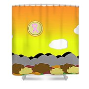 Ribbon Over Mountains Shower Curtain