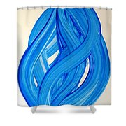 Ribbons Of Love-blue Shower Curtain