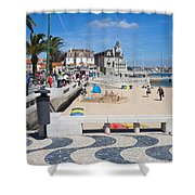 Ribeira Beach In Cascais Portugal Shower Curtain