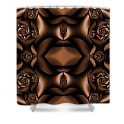 Rich Coffee Fractal Roses Shower Curtain