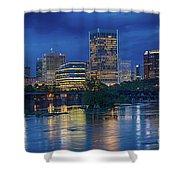 Richmond Skyline Above James River At Night 11972 Shower Curtain