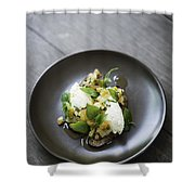 Ricotta And Salad With Herbs On Rye Bread Shower Curtain