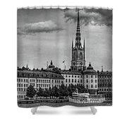 Riddarholmen Black And White Shower Curtain