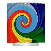 Ride The Wave - Colorful Digital Design Shower Curtain