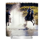 Riders In A Creek Shower Curtain