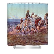 Riders Of The Open Range Shower Curtain by Charles Marion Russell