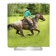 Riding Fast  Shower Curtain