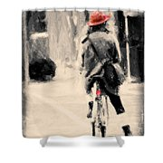 Riding My Bicycle In A Red Hat Shower Curtain