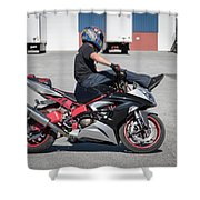 Riding On Handle Bars Shower Curtain