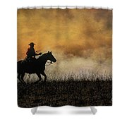 Riding The Fire Line Shower Curtain