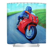 Riding The Highlands - Ducati 999 Shower Curtain