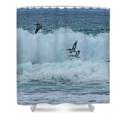 Riding The Waves At Wall Beach Shower Curtain