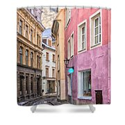 Riga Narrow Road Digital Painting Shower Curtain