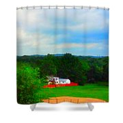 Right Field And Green Meadows Shower Curtain