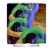 Rings And Spheres Shower Curtain