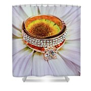 rings on white daisy love Valentine's Day  gerbera and wedding gold  Shower Curtain