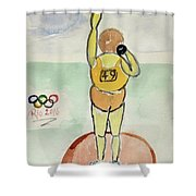 Rio2016 - Shot Putt Shower Curtain