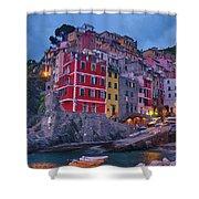 Riomaggiore In Cinque Terre Italy Painterly Shower Curtain