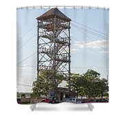 Rip Line Tower At Coba Village Shower Curtain