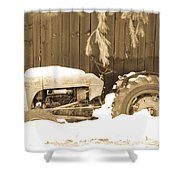 Rip Old Oliver Tractor Shower Curtain