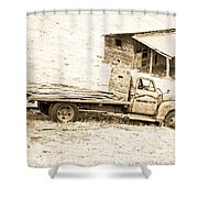 Rip Old Truck In Field Shower Curtain