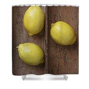 Ripe Lemons In Wooden Tray Shower Curtain